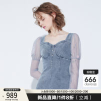 Dress Spring 2021 Denim blue 155/80A/XS 160/84A/S 165/88A/M 170/92A/L Middle-skirt singleton  Long sleeves commute square neck High waist Solid color zipper other puff sleeve Others 25-29 years old Type X Cocoon / coconi Korean version 91% (inclusive) - 95% (inclusive) Denim cotton
