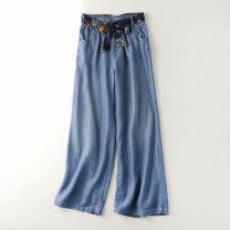 Jeans Summer 2020 Light blue, dark blue M,L,XL,2XL trousers High waist Wide legged trousers Thin money