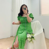 Women's large Spring 2021, summer 2021, autumn 2021 Green long, green short Big XL, big XXL, big XXXL, big XXXXL, big XXXXL, s, 6xl Dress singleton  Sweet Self cultivation thin Socket Short sleeve Plants and flowers square neck polyester Three dimensional cutting puff sleeve H8639 Roradisa other