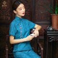 cheongsam Summer 2020 S M L XL 2XL Burgundy blue Short sleeve long cheongsam Retro Low slit daily Oblique lapel other 25-35 years old Piping E. Beauty / Beauty polyester fiber Polyester 100% Pure e-commerce (online only)