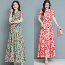 Dress Spring 2021 Red, green M,L,XL,2XL,3XL longuette singleton  Long sleeves commute V-neck middle-waisted Decor Socket other other straps 30-34 years old Type A Other / other 81% (inclusive) - 90% (inclusive) Chiffon polyester fiber