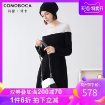 Dress Winter of 2019 black 95/S 100/M 105/L 110/XL 115/XXL Mid length dress singleton  Long sleeves commute Crew neck Socket routine 30-34 years old Comoboca / comon Boca Simplicity KTM5394 More than 95% other Cashmere (cashmere) 100%