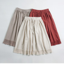 skirt Spring 2020 Average size Khaki, linen, brick red Mid length dress Sweet Natural waist A-line skirt Solid color Type A 51% (inclusive) - 70% (inclusive) Other / other cotton Cut out, lace up, stitching, lace solar system
