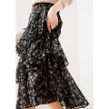 skirt Spring 2021 S,M,L,XL black longuette commute High waist Ruffle Skirt Broken flowers Type A More than 95% MIJOR polyester fiber Ruffles, zippers Simplicity