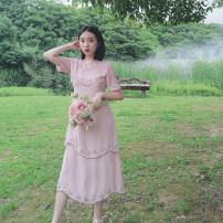 Dress Summer 2020 Elegant light powder, elegant milk tea S,M,L