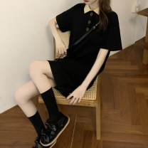 Dress Spring 2021 Black, pink Average size Middle-skirt singleton  Short sleeve commute Polo collar Loose waist Solid color Socket other routine Others 18-24 years old Type H Korean version Splicing cotton
