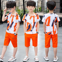 suit Yibei deer DC orange (suit), DC purple (suit), St green (suit), St blue (suit), St red (suit), HM grey (suit), WR white (suit) 110, 120, 130, 140, 150, 160 male summer leisure time Short sleeve + pants 2 pieces routine There are models in the real shooting Socket nothing Cartoon animation cotton