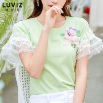 T-shirt Green top S M L XL 2XL Spring 2020 Short sleeve Crew neck Self cultivation Regular pagoda sleeve Sweet cotton 86% (inclusive) -95% (inclusive) youth Plants and flowers Luviz Three dimensional decoration Cotton 93.5% polyurethane elastic fiber (spandex) 6.5%