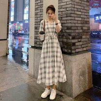 Dress Summer 2021 Retro grid XS,S,M,L,XL longuette singleton  elbow sleeve commute V-neck High waist Solid color Socket A-line skirt routine Others 18-24 years old Type A Korean version Frenulum 81% (inclusive) - 90% (inclusive) Silk and satin cotton