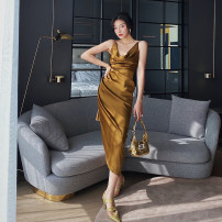 Dress Spring 2021 Gold, gold second batch S,M,L Mid length dress singleton  Sleeveless commute Dangling collar High waist Solid color Socket One pace skirt camisole 25-29 years old Type X Zhao Sanguan Retro MSG21022205
