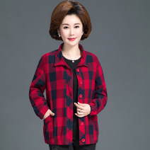 Middle aged and old women's wear Spring 2020, autumn 2020, spring 2021, autumn 2021 fashion Jacket / jacket easy singleton  lattice 50-59 years old Cardigan moderate Polo collar Medium length (length 50-70cm) routine pocket pure cotton 96% and above Single breasted