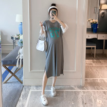 Dress Other / other Korean version Short sleeve Medium length summer Crew neck letter cotton 19366 Chinese Mainland Zhejiang Province Hangzhou Grey + white One size fits all