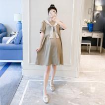 Dress Other / other Khaki, black Average size Korean version Short sleeve Medium length summer Solid color Chiffon