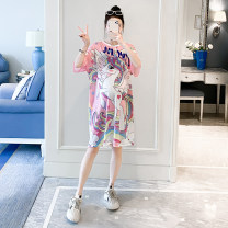 Dress Other / other Pink Average size Korean version Short sleeve Medium length summer Crew neck Cartoon animation polyester