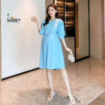 Dress Other / other White, blue Average size Korean version Short sleeve Medium length summer Crew neck Solid color cotton material