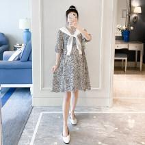 Dress Other / other white M, L Korean version Short sleeve Medium length summer Crew neck Chiffon
