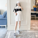Dress Other / other White, black Average size Korean version Short sleeve Medium length summer stand collar other cotton material