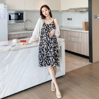 suit Other / other White top, black skirt M. L, XL, one size fits all Korean version Long sleeve + skirt summer routine other