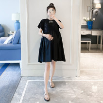 Dress Other / other black Average size Korean version Short sleeve Medium length summer Crew neck Solid color cotton material