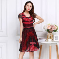 Dress Summer of 2018 M L XL 2XL 3XL 4XL Middle-skirt singleton  commute Lotus leaf collar High waist Decor Socket puff sleeve 40-49 years old Korean version 81% (inclusive) - 90% (inclusive) polyester fiber Polyester fiber 90% polyurethane elastic fiber (spandex) 10%