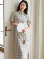 cheongsam Summer 2021 XS,S,M,L Oatmeal grey check Short sleeve long cheongsam Retro High slit daily Oblique lapel lattice 18-25 years old Piping 51% (inclusive) - 70% (inclusive)