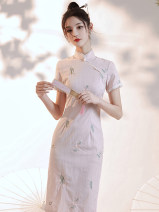 cheongsam Summer 2021 S,M,L,XL Pink grass Short sleeve long cheongsam Retro Low slit daily Oblique lapel Decor 18-25 years old Piping 51% (inclusive) - 70% (inclusive)