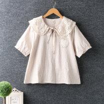 shirt Apricot, black Average size cotton 96% and above Short sleeve Regular Socket routine lattice Cotton and hemp