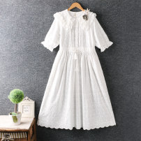Dress Summer 2021 White, apricot Average size longuette Short sleeve Loose waist Solid color Socket routine Others More than 95% cotton