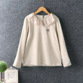 T-shirt Khaki, apricot Average size Long sleeves Straight cylinder Regular routine commute cotton 96% and above Solid color