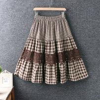 skirt Spring 2021 Average size Black, brown longuette commute High waist A-line skirt lattice Type A cotton Splicing