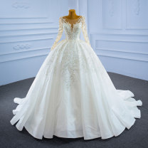 Wedding dress Spring 2021 white Customized [contact customer service] (no return, no change) Korean version Long tail Bandage Hotel Interior One shoulder Netting Three dimensional cutting High waist 18-25 years old Crystal tube Sleeved shawl Realsmile Large size American network 96% and above