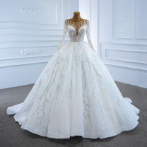 Wedding dress Spring 2021 white S. M, l, XL, customized [contact customer service] (no return, no change) Korean version Long tail Bandage Hotel Interior One shoulder Netting Three dimensional cutting High waist 18-25 years old Sequins Sleeved shawl Realsmile Large size American network 96% and above