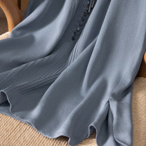 Dress Spring 2021 S,M,L longuette singleton  Long sleeves commute V-neck High waist Solid color Single breasted other routine Others Spring home More than 95% silk