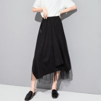 skirt Summer 2020 M, L black Mid length dress street Natural waist Irregular Solid color Type A 25-29 years old 0246Y2005200 81% (inclusive) - 90% (inclusive) brocade nylon Three dimensional decoration, asymmetry, bandage, gauze mesh, splicing Punk