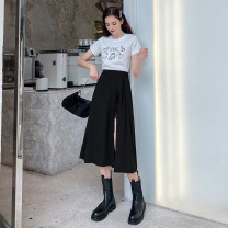 skirt Summer 2021 XS,S,M,L,XL black Mid length dress street High waist A-line skirt Solid color Type A MG027519 More than 95% other Mg elephant polyester fiber Europe and America