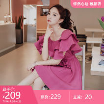 Dress Summer of 2019 Rose Pink S M L XL Middle-skirt singleton  Sleeveless Sweet One word collar Elastic waist Socket Big swing other 25-29 years old Type X Big pink doll Lotus leaf edge DN1BDR037 30% and below other polyester fiber Viscose (viscose) 90.4% polyester 9.6% Ruili