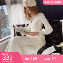 Dress Spring 2021 Off white off white (spare) S M L XL Mid length dress singleton  Long sleeves Sweet V-neck middle-waisted other Cake skirt bishop sleeve 25-29 years old Type X Big pink doll DO1ADR027 51% (inclusive) - 70% (inclusive) cotton