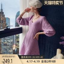 Dress Autumn 2020 Pink Purple S M L XL Middle-skirt singleton  three quarter sleeve Sweet V-neck middle-waisted Socket Big swing bishop sleeve 25-29 years old Type X Big pink doll DT1CDR021 30% and below polyester fiber Viscose (viscose) 51.7% polyester 29.3% polyamide (nylon) 19% princess