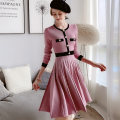Dress Winter 2020 Heart powder color matching S M L XL longuette singleton  Long sleeves Sweet Crew neck High waist Socket Pleated skirt routine 25-29 years old Type X Big pink doll Button DT1DDR010 30% and below polyester fiber Viscose (viscose) 49.3% polyester 29.1% polyamide (nylon) 21.6% princess