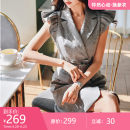 Dress Summer 2020 Light grey S M L XL Short skirt singleton  Short sleeve commute tailored collar middle-waisted double-breasted A-line skirt Flying sleeve 25-29 years old Type A Big pink doll lady Button DT1BDR015-1 More than 95% polyester fiber Polyester 100%