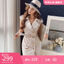Dress Summer 2021 Light beige S M L XL Middle-skirt singleton  Short sleeve commute tailored collar middle-waisted double-breasted A-line skirt other 25-29 years old Type X Big pink doll Ol style Button DO1BDR018 More than 95% polyester fiber Polyester 100%
