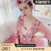 Dress Autumn of 2018 Soft pink S M L XL Mid length dress singleton  three quarter sleeve Sweet V-neck middle-waisted Big flower Socket other bishop sleeve 25-29 years old Type X Big pink doll Tie flowers More than 95% nylon Polyamide fiber (nylon) 100% Mori Pure e-commerce (online only)