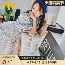 Dress Summer of 2019 Gray blue stripe S M L XL Short skirt singleton  elbow sleeve Sweet Lotus leaf collar Elastic waist stripe Socket A-line skirt Lotus leaf sleeve 25-29 years old Type A Big pink doll Lotus leaf edge DN1BDR010 30% and below other polyester fiber Mori
