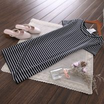 T-shirt Black and white stripe, light stripe XL,L,M,2XL,3XL Summer of 2019 Short sleeve Crew neck Self cultivation Medium length routine street cotton 86% (inclusive) -95% (inclusive) 25-29 years old classic Thin horizontal stripe Europe and America