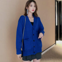 Wool knitwear Autumn 2020 S,M,L,XL Sapphire blue, black, yellow, apricot singleton  Cardigan other 71% (inclusive) - 80% (inclusive) Regular thick commute easy V-neck routine Korean version