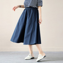skirt Summer 2021 Versatile summer comfort Army green, black, navy blue, light brown Middle-skirt commute Natural waist A-line skirt Solid color 81% (inclusive) - 90% (inclusive) other Bronze buckle cotton Korean version