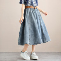 skirt Summer 2021 M, L Denim blue, denim black Middle-skirt commute Natural waist Type A 81% (inclusive) - 90% (inclusive) Bronze buckle cotton Korean version