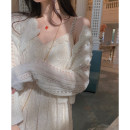 Dress Summer 2021 Rouguang rice, Rouguang rice XS,S,M longuette singleton  Sleeveless commute V-neck High waist Solid color Socket routine camisole Type A Korean version Lace 21C089 30% and below other polyester fiber