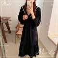 Dress Autumn 2020 black Average size Miniskirt singleton  Long sleeves commute V-neck High waist Others 18-24 years old Korean version 9113#