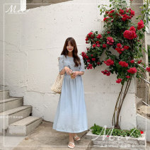 Dress Summer 2021 blue Average size Mid length dress singleton  Short sleeve commute Crew neck High waist Solid color Socket Others 18-24 years old Other / other Korean version 286#